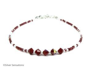 Dainty-Dark-Red-amp-White-Seed-Bead-Layering-Friendship-Bracelet-Anklet-Gift