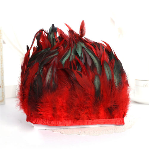 1-10 yard Beautiful Hackle Rooster Tail Feather Fringe Trim For Hat Sewing Craft