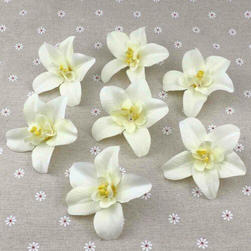 """15P 3/"""" Soie Artificielle Fausse Orchidée Fleurs en vrac floral White Craft Home Decor"""