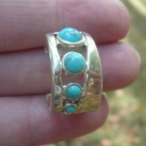 Barse-Sterling-Silver-925-Thai-Turquoise-Wide-Thick-Half-Hoop-Single-Earring