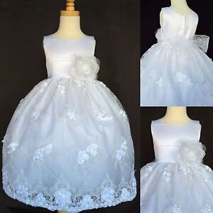 White-Floral-Embroidery-Dress-Flower-Girl-Christmas-Baptism-Communion-Satin-011
