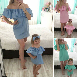 18ee14f6f2a Mother and Daughter Casual Mini Off Shoulder Dress Mommy Me Matching ...