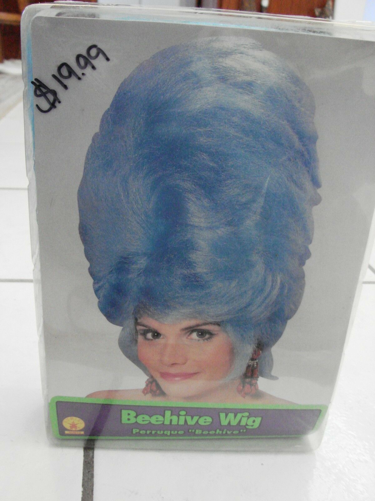 Black One Size Bristol Novelty BW680 Beehive Wig with Rose