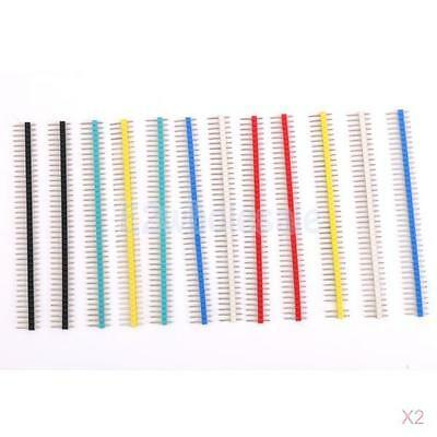 24Pcs 40Pin Male Single Row Pin Header Strip 2.54mm Pitch Multicolor for PCB