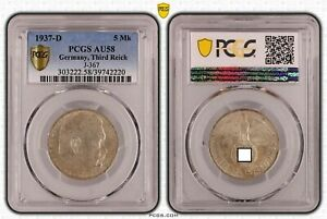 Tercer Imperio 5 Reichsmark Hindenburg 1937 D PCGS Certificado AU58 51305
