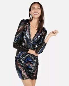 a86d883c1592e Image is loading EXPRESS-MULTICOLOR-PATTERNED-SEQUIN-DEEP-V-NECK-MINI-