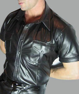 MEN-039-S-REAL-LEATHER-Black-Police-Military-Style-Shirt-BLUF-ALL-SIZE-Shirt