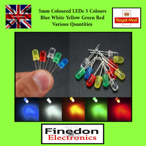 10 20 5mm Coloured LEDs  5 Colours Red Blue Yellow Green White 1 50 UK
