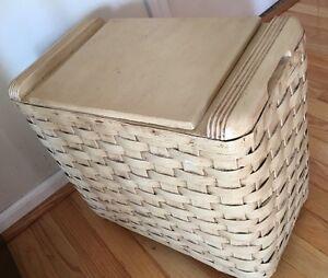 Vintage Painted Wood Amp Wicker Laundry Hamper Vanity Bench