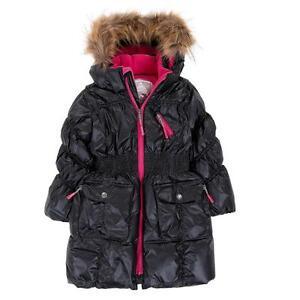 Deux Par Deux Fluffy Puffy Girls Long Coat Black With Fur Trim ...