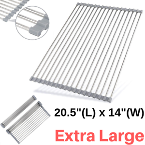 Extra Large Roll Up Dish Drying Rack Over Sink Silicone