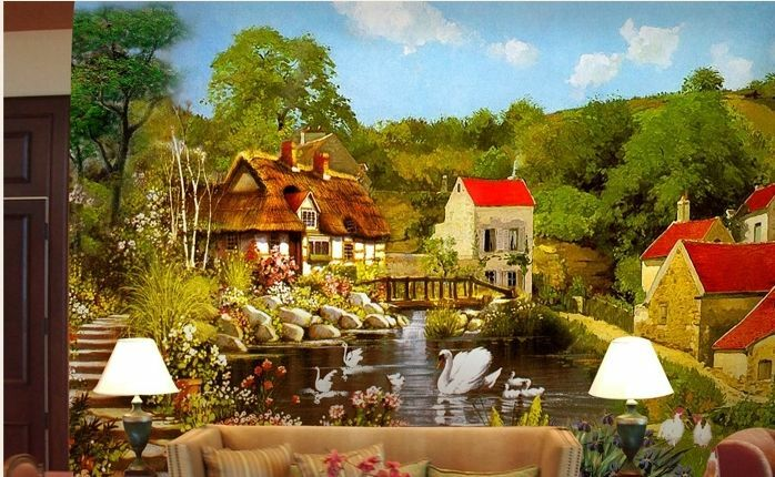 3D Idyllische Dorf Fototapeten Wandbild Fototapete Bild Tapete Familie Kinder