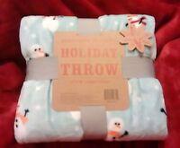 Berkshire Blanket Holiday Throw 55 X 70 Velvet Super Soft Snowman On Light Blue