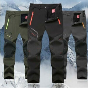 Men-Warm-Fleece-Lined-Pants-Outdoor-Travel-Hiking-Camping-Skiing-Fishing-Trouser