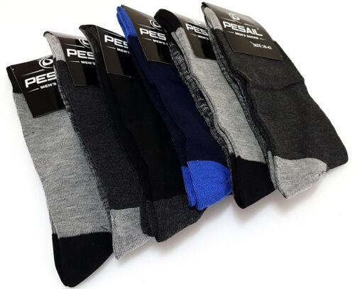 6 Pairs of Men/'s Pesail Rich colour Cotton Socks Black Size EU 39//42 UK 6//8