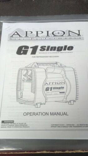 STAR PERFORMANCE REFRIGERANT RECOVERY G1 SINGLE PRINTED OWNERS MANUAL APPION