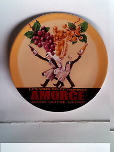 Pottery-Barn-Wine-Bar-Cocktail-Plate-Ceramic-Les-Vins-Selectione-Amorce