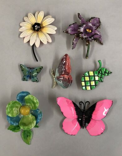 Vintage Lot of & Enamel Flower & Butterfly Brooch