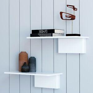 Modern Set Of 2 White Floating Shelves For Wall In Living Bedroom And Bathroom Ebay