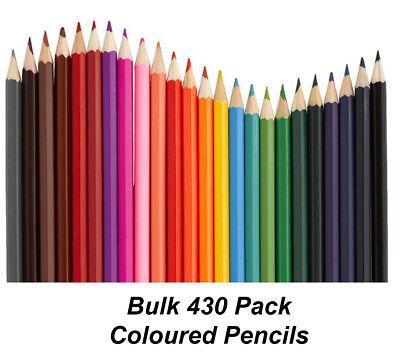 Coloured Pencils Round Grip Art Colouring Drawing Kids BULK 430 Pack Colour