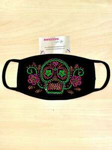 Face Mask Rhinestone Face Mask with Neon Sugar Skull, Cotton Blend, Made In USA