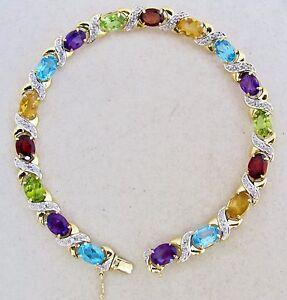 """Peridot Citrine & Amethyst 14g, 7.8"""" Topaz 14k Gold Bracelet With Garnet"""