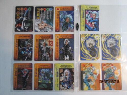 MARVEL OVERPOWER BLACK CAT SET OF 2 HERO CARDS BONUS + 8 SPECIALS PS, IQ
