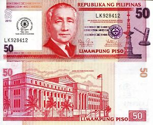 Details about PHILIPPINES 50 Piso Banknote World Paper Money UNC Currency  Pick p216 2013 Bill