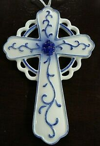 Beautiful-Delft-Blue-Porcelain-Christian-Cross-Kurt-S-Adler-Christmas-Ornament