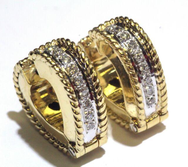 18k yellow gold .27ct SI2 H diamond hoop huggie cluster earrings 12.9g vintage
