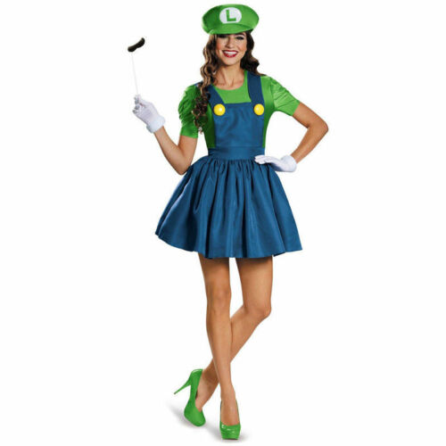 Womens Adult Super Mario AND Luigi Workmen Couples Fancy Dress Costumes Outfits