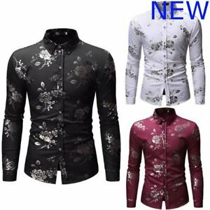 Floral-Shirt-Slim-Fit-Luxury-Long-Sleeve-Stylish-Top-Casual-Mens-Dress-Shirts