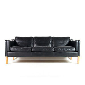Retro-Vintage-Danish-Stouby-Leather-3-Seat-Seater-Sofa-Oak-Scandinavian-60s-70s