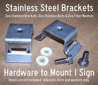 Stainless Sign Mounting Brackets For Pole/round Posts Incl 2 Brackets/2 Screws