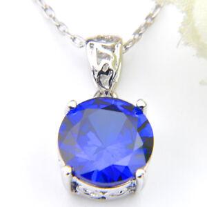 Wedding-Gift-Unique-Design-Round-Style-Ocean-Blue-Topaz-Silver-Necklace-Pendant