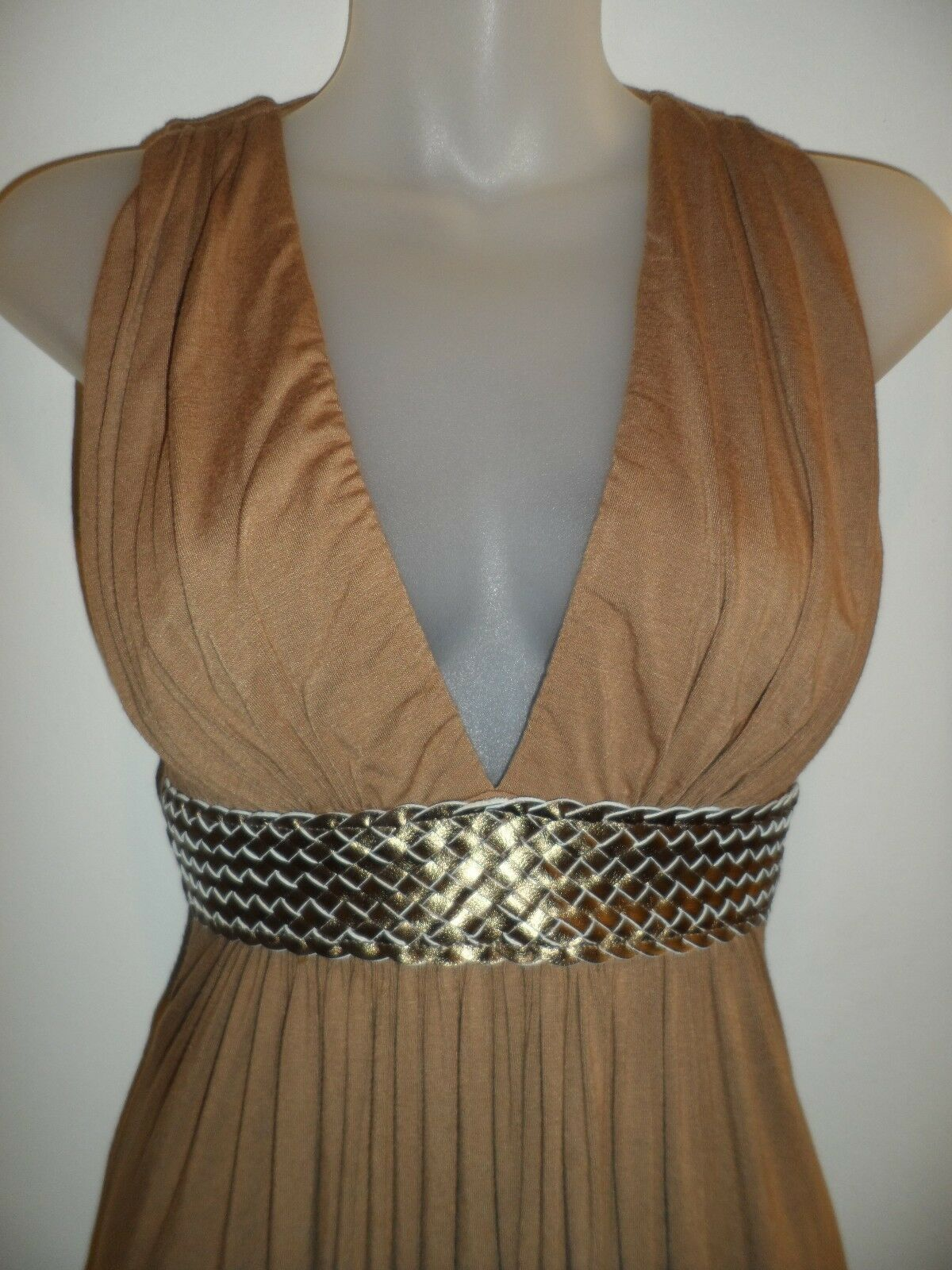 Sky Clothing Brand S Dress Brown Bronze Leather Grecian Party Club Sexy Fall EUC