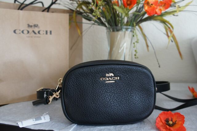 aa18885cbc Coach F73952 Convertible Belt Bag Crossbody in Pebble Leather Black