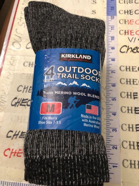 15f180348 Kirkland Signature Mens Outdoor Trail Socks Merino Wool 4 Pairs MADE USA SZ  M