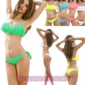 7cba2c0a1e66 Detalles de Bikini Traje de Baño Banda Flecos Dos Piezas Moda de Baño Mujer  Nuevo B3187