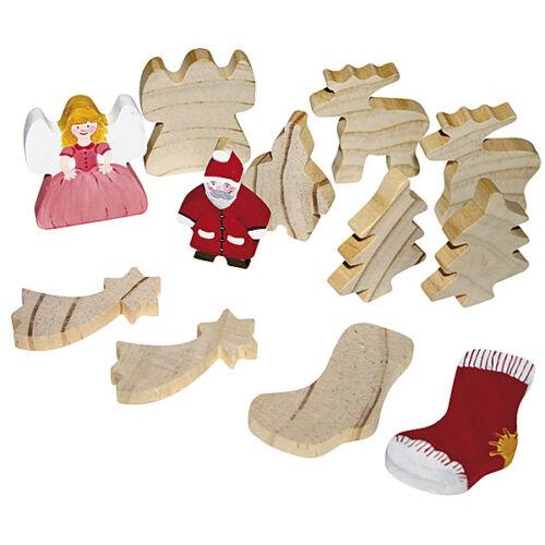 Holzfiguren stehend für Weihnachten Tannenbaum Engel Stiefel Rentier bemalen NEU