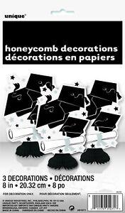 GRADUATION-PARTY-SUPPLIES-3-x-BLACK-amp-WHITE-HONEYCOMB-TABLE-DECORATIONS