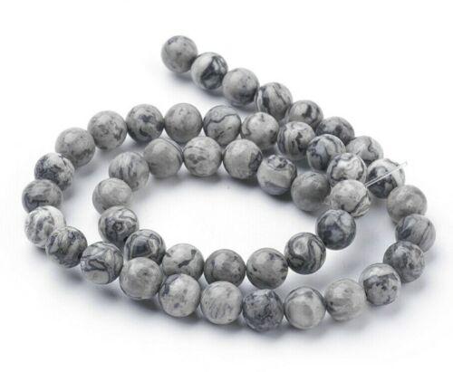 Jaspis Halbedelstein Natur Perlen Kugel grau 6//8mm SERAJOSY