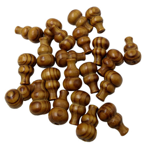 25pcs gourde forme en Bois spacer Rayure Beads For À faire soi-même Jewelry Making 27 mm