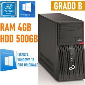 COMPUTER DESKTOP FUJITSU ESPRIMO P410 E85+ CELERON 4GB 500GB HDD WIN 10-