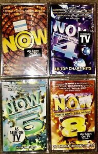 "LOT OF 4 SEALED ""NOW"" THAT'S WHAT I CALL MUSIC 1,4,5,8 CASSETTE TAPES UNOPENED"