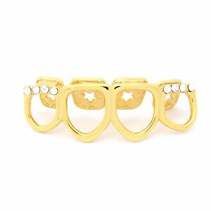 14K Gold Plated 4 Tooth Hollow CZ Top Row HIGH QUALITY Teeth Grillz