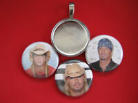 Bret Michaels Handmade Interchangeable Magnetic Pendant With Black Necklace