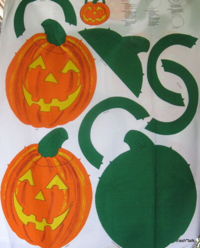 Vintage 80s Halloween Cotton Canvas Fabric Panel Pumpkin Tote bag trick or treat
