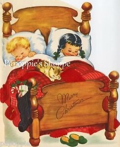 Vintage-Christmas-Storybook-Fabric-Block-Christmas-Eve-Children-in-Bed-Stockings