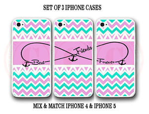 personalize mint pink chevron bff best friends 3 cases for iphone 7